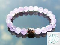 Buddha Light Amethyst Natural Gemstone Bracelet 6-9'' Elasticated Healing Stone