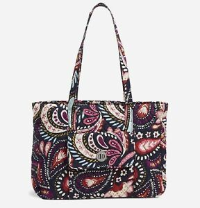 Vera Bradley Womens Turnlock Tote Bag Quilted Signature Cotton Painted Paisley