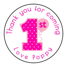 Pink Girls 1st Birthday Personalised Thank You Sticker Party Sweet Cone Age Cake