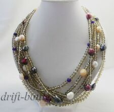 22'' 5Strands Crystal White Purple Black Baroque Freshwater Pearl Necklace