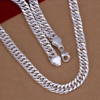 """925 Sterling Silver Filled 10MM Classic Solid Curb Chain Necklace 20""""  Stunning"""
