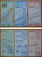 FEDERATION OF NORTH AMERICA 2 5 10 AMEROS POLYMER BANKNOTE 2011 SAME NUMBER UNC