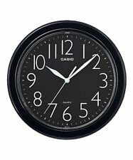 CASIO IQ-01S-1 Analog Wall Clock Round Simple Design Easy Reader Black