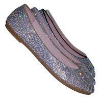 Larissa95 Rhinestone Crystal Embellished Ballet Flats - Round Toe Padded Shoes
