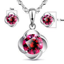 925 Silver Red Zircon Pendant Necklace Earrings Set Women Fashion Jewelry