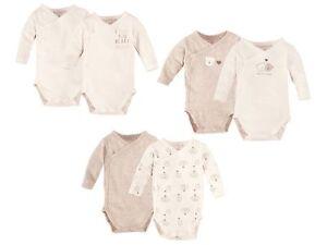 2 Set Organic 100% Cotton Baby Sleepsuite Bodysuits Long Sleeve Boys Girls Body