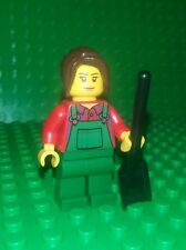 *NEW* Lego Gardener Woman Minifigure Overalls Brown Long Hair Figure Fig x 1