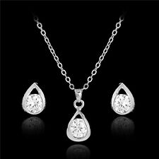 Gold and Silver Austrian Crystal Waterdrop Pendant Necklace Ear Stud Earring Set