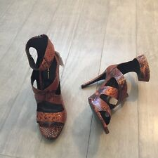 ZARA Women's High Heel Printed Leather Sandal(Brown,  US 9/EUR 40)