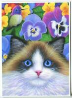 ACEO SIAMESE RAG DOLL CAT BLUE EYES PANSIES GARDEN HUMMINGBIRD GARDEN ART PRINT