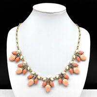 Ann Taylor Loft Rhinestone Statement Necklace Peach Pink Coral Cream Clear Gold