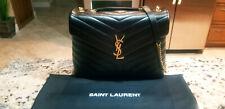 NEW $2150 Authentic YSL Saint Laurent LouLou Medium Black Flap-Top Shoulder Bag