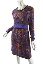 MARC CAIN Orange and Purple Paisley Double Knit Dress Long Sleeves SZ10 NWT $829