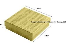 """Wholesale 200 Gold Cotton Fill Jewelry Packaging Gift Boxes 3 1/2"""" x 3 1/2"""" x 1"""""""
