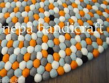 Playroom New Rug 100% Wool Handmade Felt Ball Freckle Nursery Pom Pom Mat Carpet