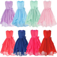 Flower Girl Princess Dress Birthday Party Wedding Formal Kids Dresses Age 4-14Y