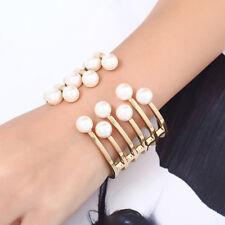 Lk _ Eg _ Moda Elegante Lega Perle Finte Aperto Bracciale Rigido Gioielli da