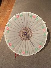 Pretty Blue Oriental Style Sun Parasol/Baby Blue/White Fabric/Hand Painted/Decor