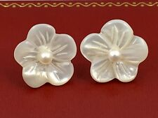 Genuine Mother of Pearl Flower & Pearl Stud Earrings, Solid 14k Gold, New