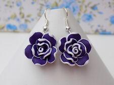 20 mm argile polymère violet foncé Roses Fleurs Perles Plaqué Argent Crochet Boucles D'oreilles
