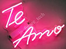 "New Te Amo Neon Light Sign 14"" Lamp Beer Bar Acrylic Real Glass Handmade Love"