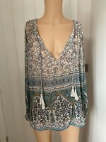 Next Blouse Shirt Top UK Size 14 Womens Ladies Sheer Green White Floral Print