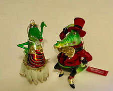 Mr & Mrs Holiday Gala Glass Alligator Christmas Tree Ornaments Crocodile Pair