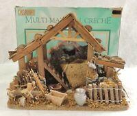 "Vintage 12"" Ornate World Showcase Wood Christmas Nativity Creche Original Box"