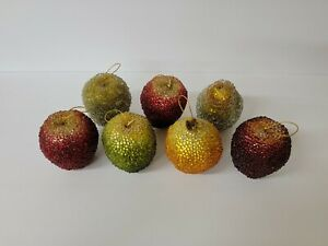 7 Piece Beaded Frosted Sugared Fruit Apples Orange Pear Ornaments