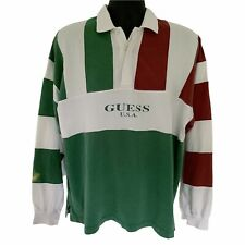 Vintage 90s Guess Rugby Polo Long Sleeve Shirt L Large Striped Colorblock Grunge