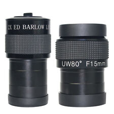 "FMC Black 2"" F15mm UW80 Eyepiece+2"" Multicoated ED 2x Barlow Lens For Telescope"