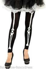Ladies Black White Halloween Skeleton Footless Tights Fancy Dress Costume Outfit