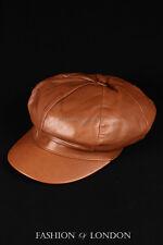 Gatsby Sombrero Real Piel de cordero bronceado 100% Cuero taxista diariero Hatteras Golf Tapa