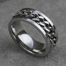 Rotatable Chain Band Ring Jewelry Fashion Men Silver/Black/Gold Titanium Steel