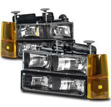 94-98 GMC C/K C10 1500 2500 SUBURBAN YUKON BLACK HEADLIGHTS LAMPS W/AMBER CORNER