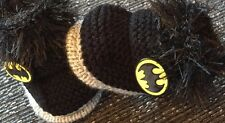 Brand New Unisex baby booties Newborn Batman Hand Knitted By Annie