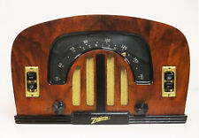 Old Antique Wood Zenith Vintage Tube Radio - Restored & Working Deco Table Top