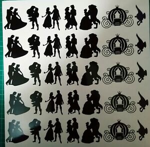 35x Disney Prince and Princess Lamp Carriage Vinyl Decal Silhouette Stickers ect