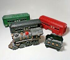 Lot 5 Antique Cast Iron Ppr Washington 44 Train Set Locomotive Cars Caboose Toy