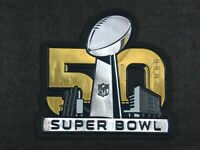 OFFICIAL PLASTIC Denver Broncos vs Panthers Super Bowl 50 Flex Chrome Patch