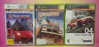 3 Game Racing Lot Original Microsoft XBOX Project Gotham Colin Mcrae Flatout