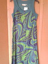 Adini 100% cotton dobby printed scoop neck dress button through fully lined S/XS