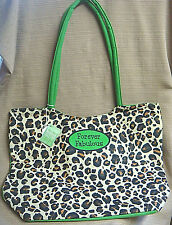 NWT Leopard Print & Lime Green BURTON & BURTON Large CANVAS TOTE BAG