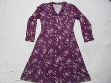FAB VINTAGE 1960s/70s PURPLE FLORAL PRINT DRESS - RETRO /BOHO