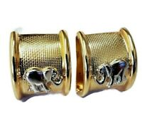 """Gold-Silver Tone Elephant Clip Earrings Great Quality .75"""""""