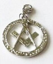 LOVELY LARGE SILVER FREEMASON MASONIC COMPASS  CLIP ON CHARM -TIBETAN SILVER-NEW