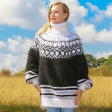 Black white mohair sweater Icelandic thick hand knit Nordic jumper SuperTanya
