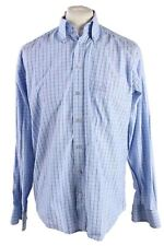 Vintage Mens Adidas Checkered Printed Long Sleeve Shirts L Blue SH3925