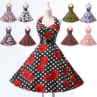 VINTAGE RETRO 50S STYLE FULL CIRCLE FLORAL SWING PINUP PROM TEA DRESS