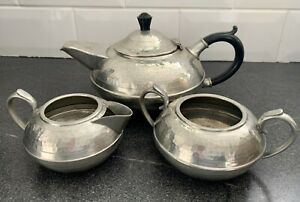 Arts & Crafts Hammered Pewter Tea Set Hand Beaten By Hall Brothers Sheffield